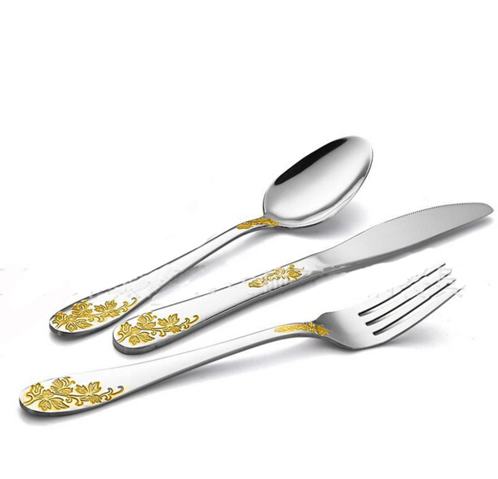 Gold plated tableware stainless steel top quality cutlery 3 piece spoon knife and fork set in - Knife and fork sets ...