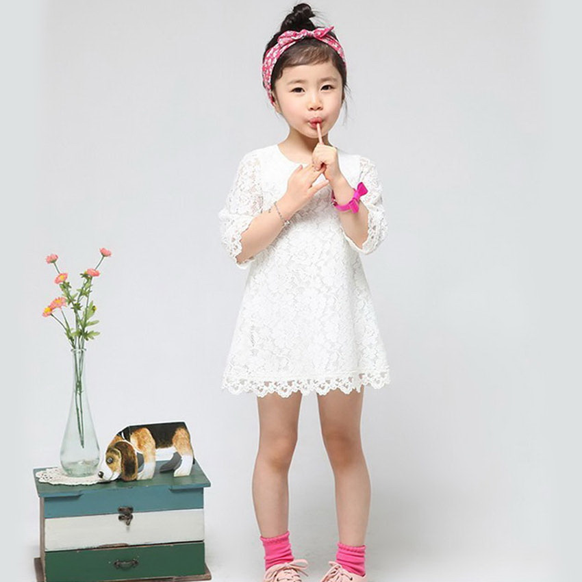 Baby Dresses Girls Princess Hollow Lace Dress 3-7 Years Old Children Three Quarter Sleeves Clothes Kids White Pink Street Wear(China (Mainland))