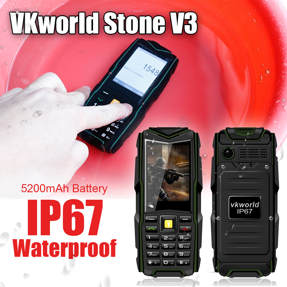 VKWorld Stone V3 Waterproof IP67 Dustproof Shockproof Dual Sim Card 5200Mah Battery GSM outdoor SmartPhone 1.2MP GSM Phone(China (Mainland))