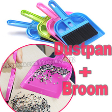 1 set/lot Dustpan Broom Rhinestones Crystals loose pearls beads Carrier for Cleaning Tools Jewelry parts findings DIY tools work(China (Mainland))