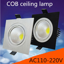 Free shipping 1PCS high power aluminum led cob dimmable ceiling light AC110V-230V 7W 12W  15w square cob led downlight(CE&ROHS)(China (Mainland))