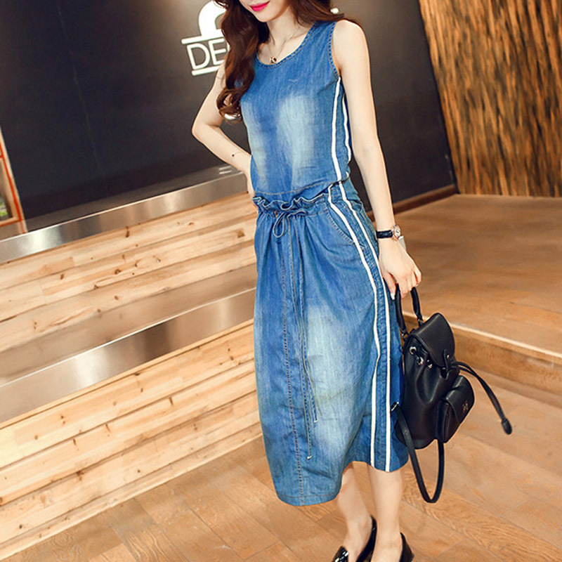 Summer Style 2015 Sleeveless Casual Cotton Maxi Dress Female Elegant Long Midi Jeans Dresses Ladies Beach Denim Dress Women(China (Mainland))