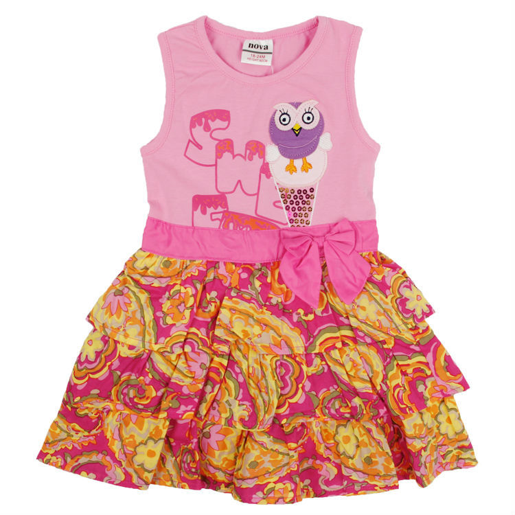 5pcs/lot18/6Y nova bow baby girl dress print owl girl princess layered summer dress sleeveless fashion party dress<br><br>Aliexpress