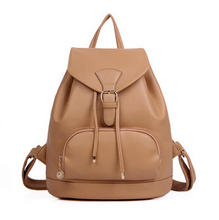 2015 New Korean Fashion women backpack bag Candy Color Preppy Style School Bags Casual Pu Leather Travel Bags 7.27-276(China (Mainland))