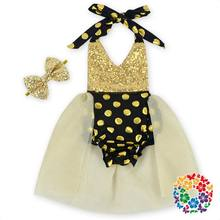 2016 New Girl TUTU Dress Sequins Gauze Patchwork Halter Dress Baby Girl Dress Baby Clothing Include Headbands 0-2T  3004(China (Mainland))