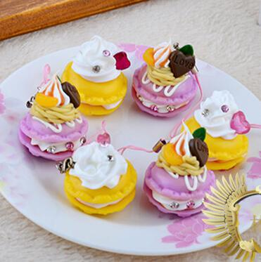 24pcs lot!5cm PVC simulation cake Fruits phone charm yellow and purple Macarons Squishies fashion party gift mix color order(China (Mainland))