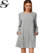Sheinside Female Long Sleeve Vestidos Women New 2016 Spring Casual Plain Robe Work Wear Mini Shirt Dress 3 Colors Avaliable(China (Mainland))