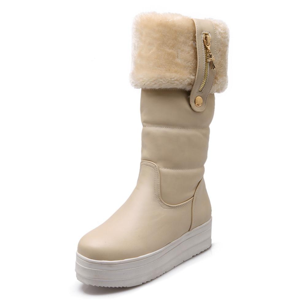 winter snow boots platform wedge mid mid calf boots