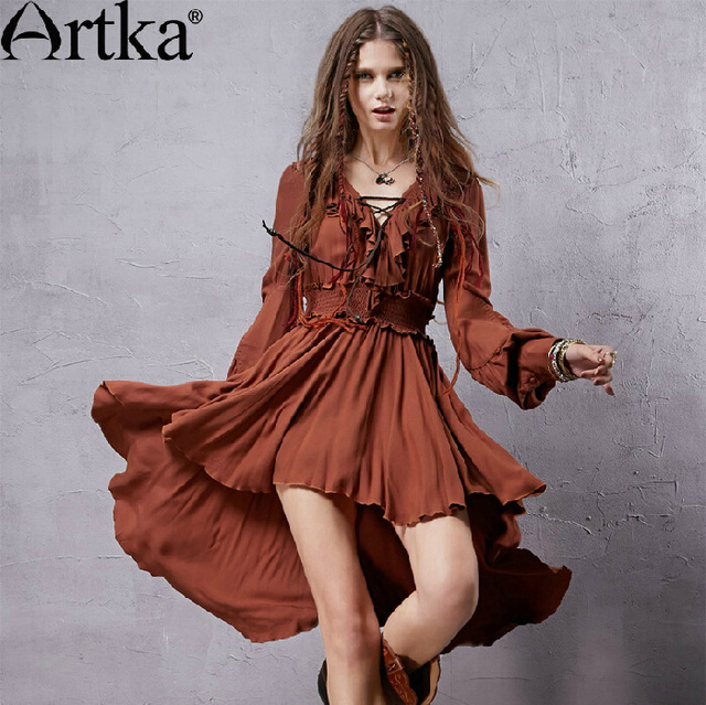 Artka vintage asymmetrical dress brand high quality dress LA10037Q(China (Mainland))