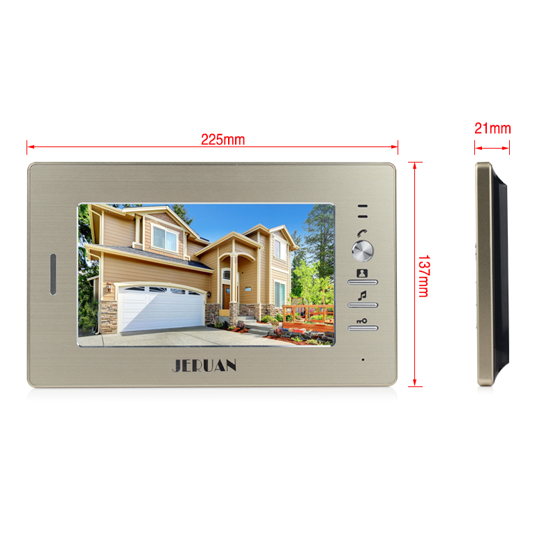 JERUAN Brand New 7 inch color screen video doorphone sperakerphone intercom system 1 monitor + 700TVL COMS camera  FREE SHIPPING