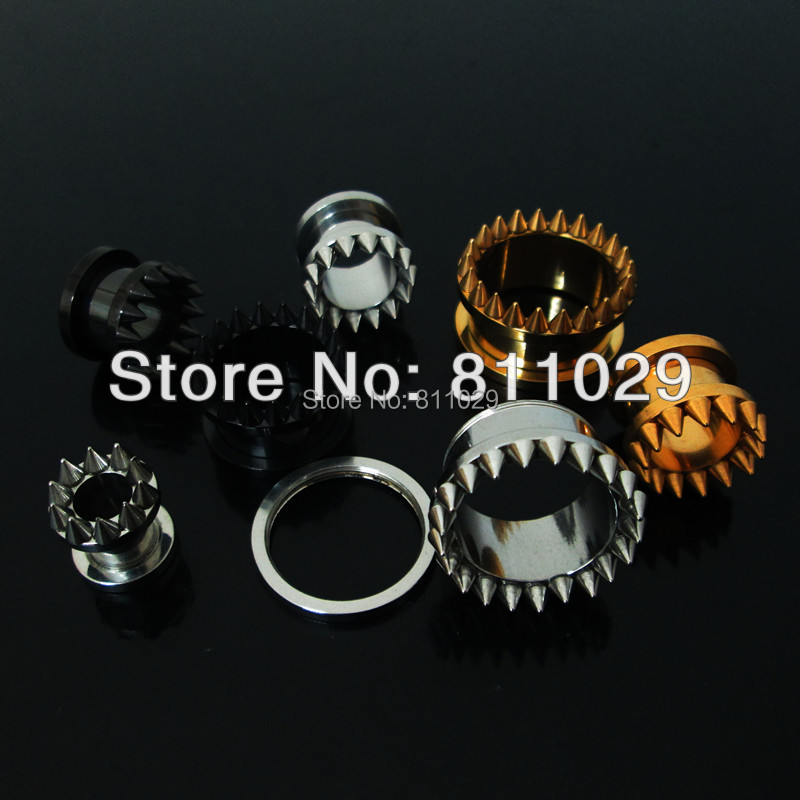 Free shipping wholesale body jewelry screw on full spike ear tunnels 160pcs mixed 8 sizes surgical Stainless Steel Flesh Tunnel<br><br>Aliexpress