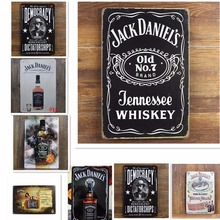 Jack Daniel Old NO 7 Brand Jennessee Whiskey Vintage Home Decor 20*30 cm Shabby Chic Metal Sign Bar Cafe Pub Tin Sign Wall Decor(China (Mainland))