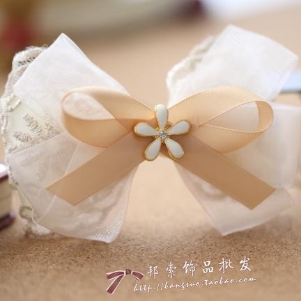 princess sweet lolita Handmade star style big bow hair accessory hair accessory chiffon hair pin hairpin beige silk yarn a184