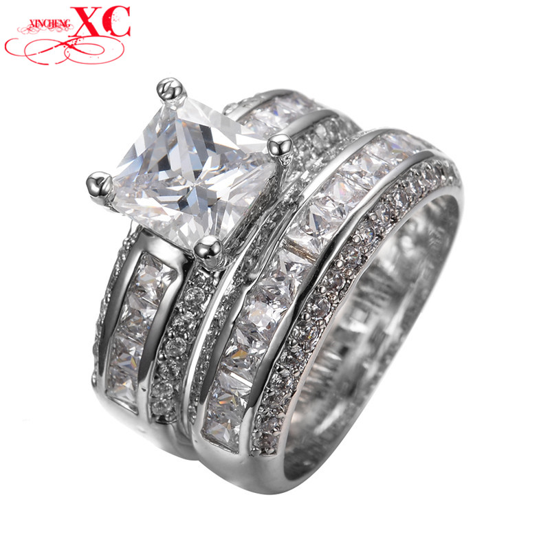 Vintage Princess Cut White Sapphire Jewelry Women Wedding Ring Sets