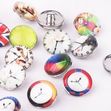 Colorful Clock Snap Buttons Ginger Snap Button 18mm Round Glass Charm Fit Snaps Jewelry Bracelet Necklace Findings 10 Pcs Mix(China (Mainland))