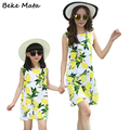 Matching Mother Daughter Dresses 2016 Summer Family Matching Outfits Flower Print Mother Daughter Dress Clothes 4
