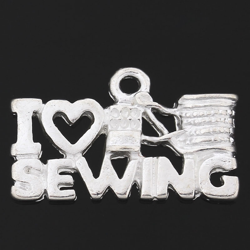 Free Shipping 30PCs Charm Pendants Heart Letters Carved Rectangle Silver Plated B31224 For Jewelry Making(China (Mainland))