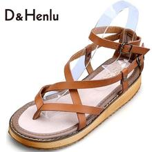 {D&H}Plus Size35-43 2016 NEW LOOK Gladiator Sandals For Women Cross-tied Trifle Flats Casual Sandals Women Shoes(China (Mainland))