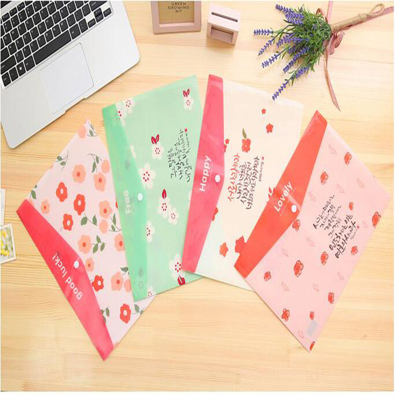 Cute Sweet Flowers Document Bag A4 office document bag storage bills examination paper clip File Folder Stationery 2.161(China (Mainland))