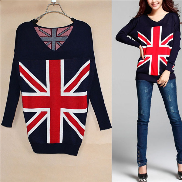 2015 New Fashion Women's British Flag Pattern Knitted Long Sleeve Sweater V-Neck Casual Sweaters SW220(China (Mainland))