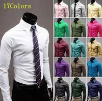 2015 New 17Color M-5XL Fashion Men Shirt Long Sleeve Mens Shirts Camisa Slim Fit Masculina Social Chemise Homme Mens Dress Shirt