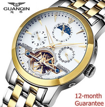 Guaranteed 12 month ! Tourbillon watches luxury men mechanical watches GUANQIN sapphire Waterproof 100m fashion men watch hours