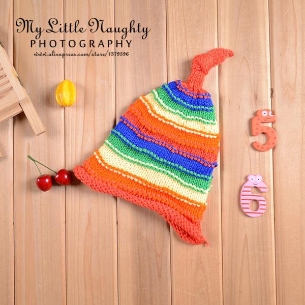 Newborn baby infant boy girl crochet beanie photo props 5 multi-colors cotton yarn elf striped winter hat gorros bebes lana(China (Mainland))