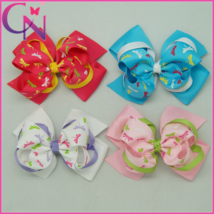 Free Shipping 5PCS/lot 4Color5.5In Fashion Hair Bow With Dragonfly Print High Quality Hair Accessories For Girls Cool Hair Bows(China (Mainland))