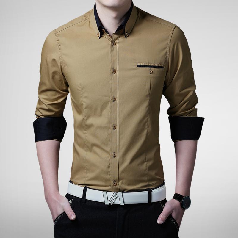 Plus size 5xl 2015 new mens dress shirts long sleeve lapel for Plus size men shirts