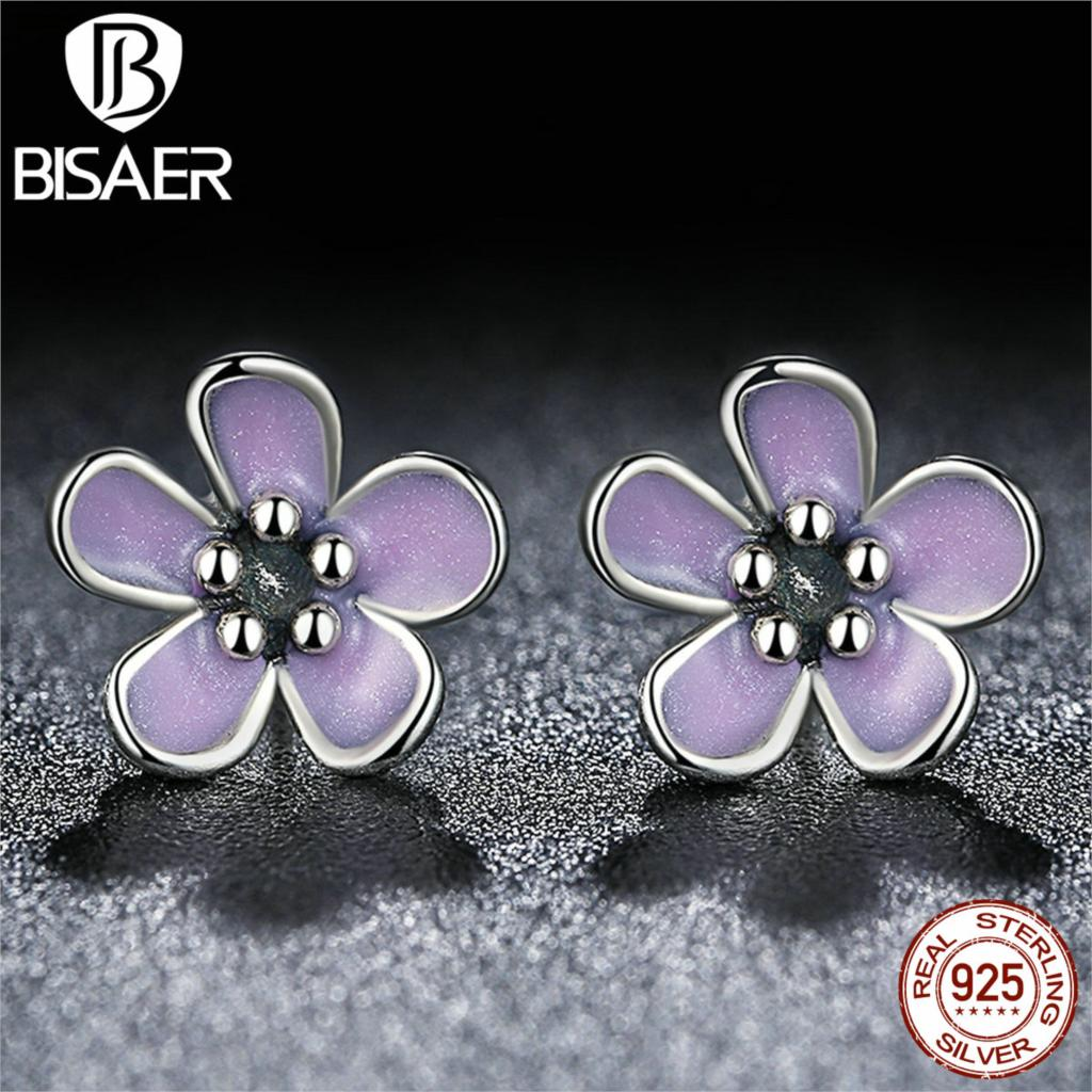 BISAER Romantic 925 Sterling Silver Cherry Blossom Stud Earrings, Purple Enamel Earrings for Women Fine Jewelry AS454(China (Mainland))