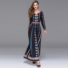 Elegant Fashion 2015 Autumn European Fashion V-neck Print Full Sleeve Small Flowers Floor-Length Black/Red Bohemian Dress