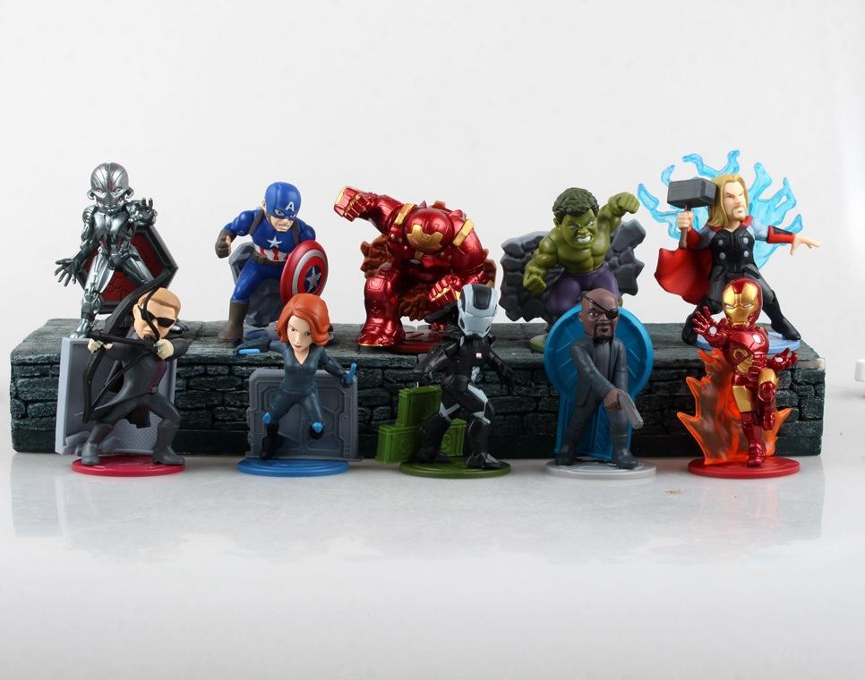 Marvel Shield America Anime Avengers Captain America iron Man Hulk Thor Black Widow Hawkeye With Magnet Action Figure Toys 0204(China (Mainland))