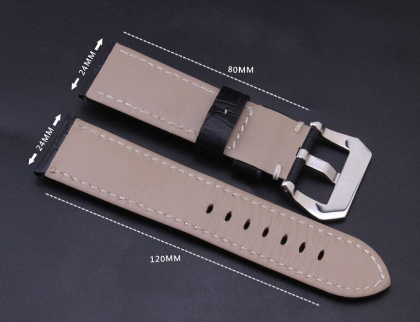 2014 новых ремешок для часов 24 мм Croco зерна теплые натуральная кожа часы с черный матовый PVD пряжка для бренда бесплатная доставка