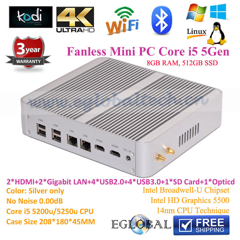 SD Card Intel Nuc Mini PC Windows Core i5 5257u Iris6100 8GB RAM 512GB Laptop SSD Fanless HTPC 4K Kodi Blue-ray 2 HDMI 2 RJ45(China (Mainland))