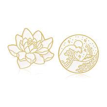 Glamour Emas Pola Lotus Gelombang Putaran Badge Bros Tepi Laut Gelombang Bulan Bintang Laut Tanaman Enamel atau Netral Mengenai Saham Pin Topi Kerah B(China)