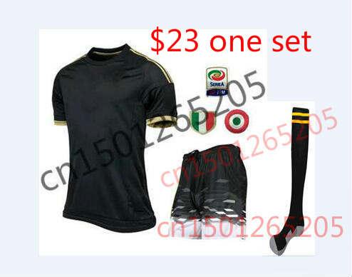 22015 POGBA kit Italy Serie A soccer jersey+short+Socks MORATA 3rd away football shirt 1516 MARCHISIO black uniforms set 3 star<br><br>Aliexpress