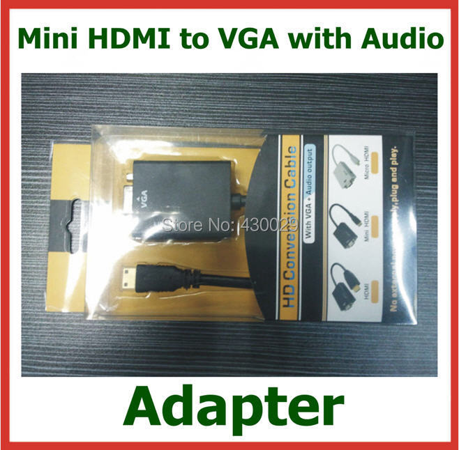 50pcs Mini HDMI to VGA with Audio Adapter Mini HDMI Male to VGA Female Converter for PC Laptop Tablet Camcoder to VGA Displays(China (Mainland))