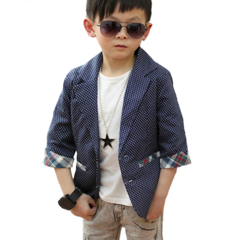 Cool Baby Boys Cotton Suit Plaid Dots Print Blazer Kids Jacket Coat Casual Fall 2-7Y