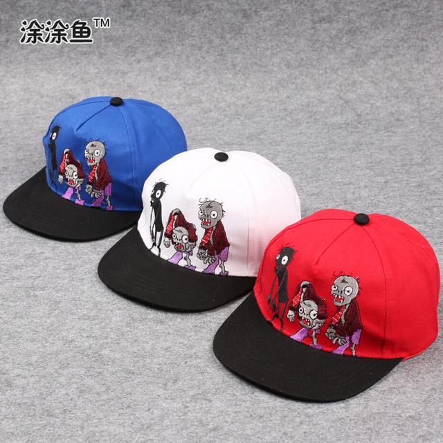 Мультфильм snapback шляпы для детей, растения против зомби зомби вышивка регулируемая по уходу за детьми бейсболки хип-хоп шляпа солнца