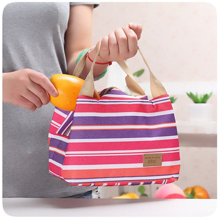 Canvas lunch cooler insulation bag bags paragraph stripe tape zipper box - Lucky Star No.1 store