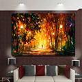 Hand Painted Knife Landscape Oil Painting Hang Paintings Modern Street View Picture For Room Decor Pictures