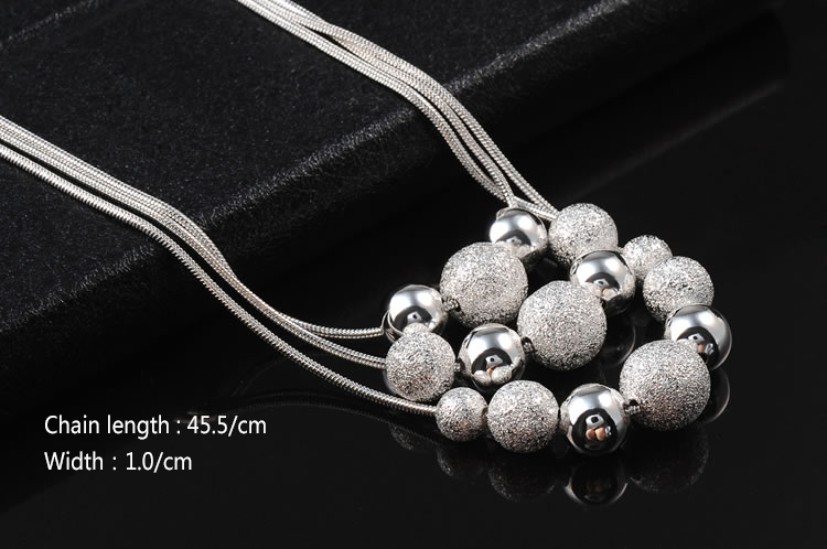 GSSPP004 Valentine s day gift pendant necklace high quality silver balls necklace fashion neckalce Silver jewelry