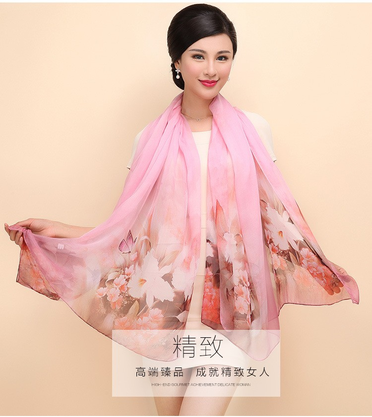 100% Silk Chiffon Scarves Fashion Printed Women Scarf Shawl New 2017 Autumn Winter Big Size 175 x 110cm Female Shawls SH060