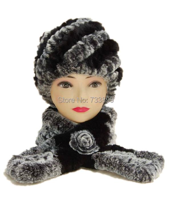 Two piece fur scarf and hat set . Best gift . women's warm winter neckerchief,soft natural rex rabbit cap,handmade knitted H233(China (Mainland))