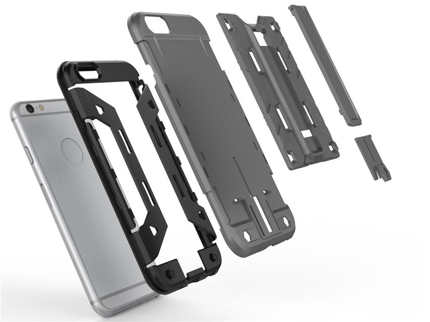 6S Hybrid Dual Heavy Duty (Silicone+Plastic) Armor Case for Apple IPHONE 6 6S 4.7 Phone Back Cover Case With Stand Card Holder(China (Mainland))