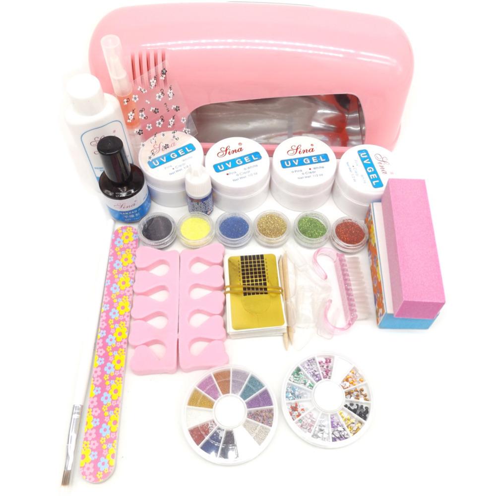 9w UV Lamp UV Gels Gel Nail Kit Cleanser Plus Top gel Nail Polish Tool Nail Tip Kit File brush Buffer Nail Art tools Set <br><br>Aliexpress