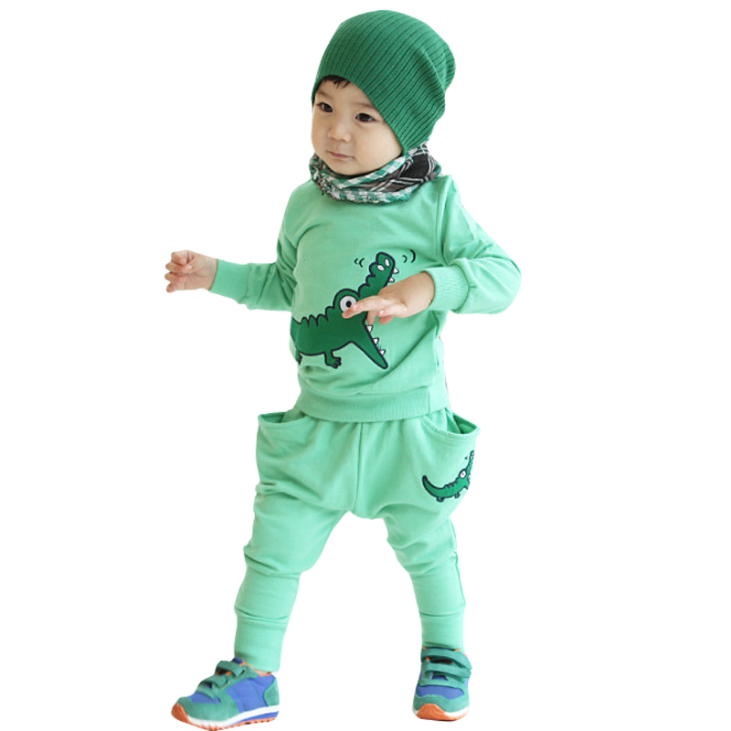 embroidery crocodile New design Baby boy's/girl's Sports Set sport clothing set baby wear Kids Suit kids wear(China (Mainland))