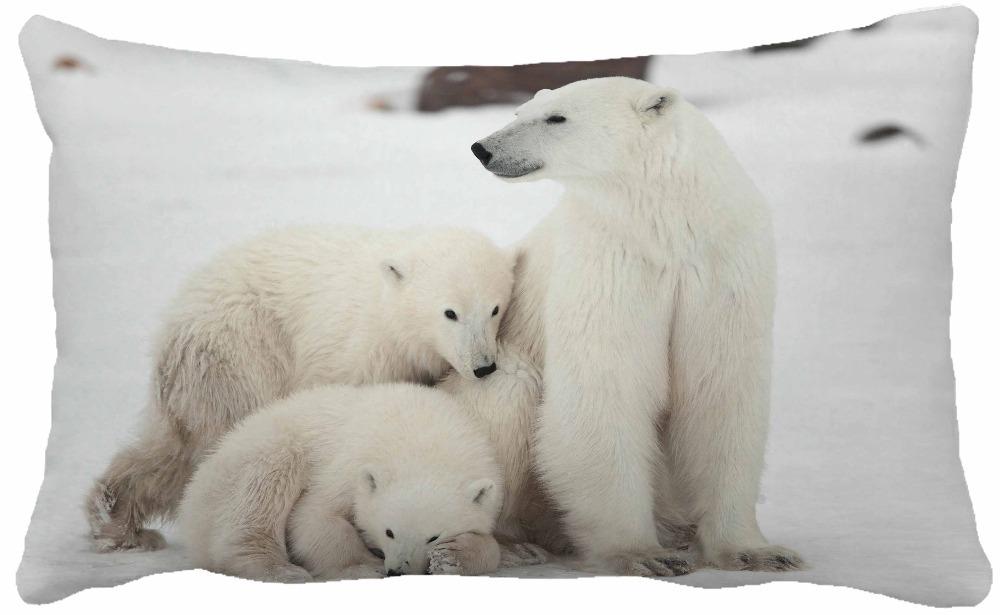"""Cute Polar Bear in White Ice Field Print Throw Pillows Home Decor Car Seat Chair Cushion Size 30x50cm """"()"""