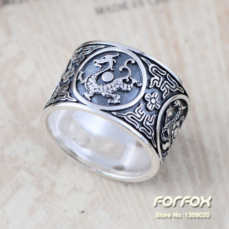 Vintage Antique Ring for Men in 925 Sterling Silver Carved Four Chinese Sacred Animals Free Shipping<br><br>Aliexpress