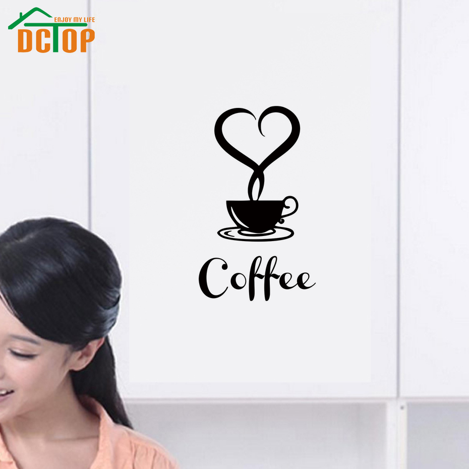 Creative Design Coffee Wall Stickers For Kitchen Removable Vinyl Wall Decals Decor Heart Shape Art Murals(China (Mainland))